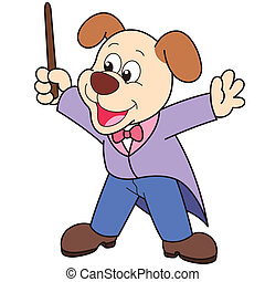 Cartoon Dog music conductor