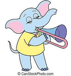 Cartoon Elephant Playing a Trombone - Cartoon Elephant...