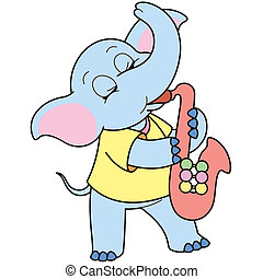 Cartoon Elephant Playing a Saxophone - Cartoon Elephant...