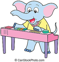 Cartoon Elephant Playing an Electronic Organ - Cartoon...