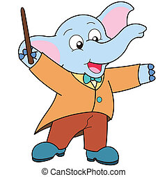 Cartoon Elephant music conductor.