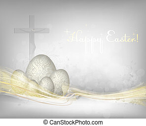 Easter background with golden waves. Ai10eps. File contains...