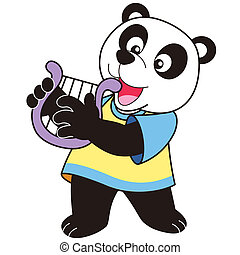 Cartoon Panda Playing a Harp - Cartoon Panda playing a harp
