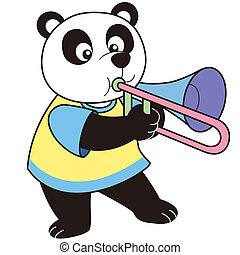 Cartoon Panda Playing a Trombone - Cartoon Panda playing a...