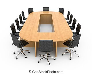 Large round wooden table with chairs