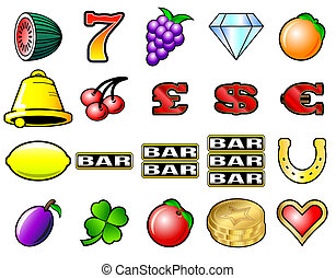 Slot Machine Symbols - Slot machine fruits and other icon...