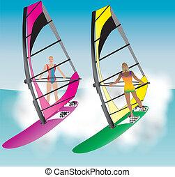 Windsurfing Women - Two Pretty Women Windsurfing down a wave