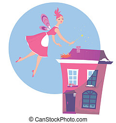 Spring cleaning - Cute fairy flying over a house, magically...