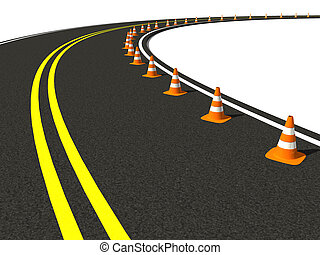 traffic cone on winding road - 3d render group traffic cone...
