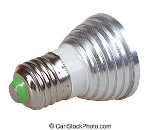 Energy-saving LED lamp isolated on white background. Back...