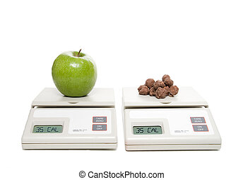 Healthy Choice - A scale with an apple and one with...