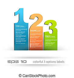 Paper style labels with 3 choices Ideal for web usage,...