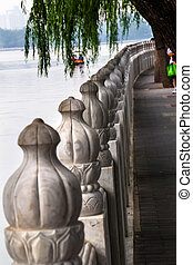 Stone Pillars Walkway Sidewalk Houhai Lake Beijing, China