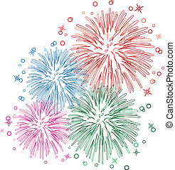 vector fireworks - vector colorful fireworks with stars and...