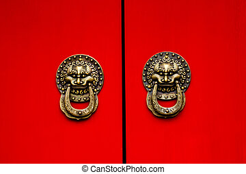rojo, puerta, florido, dragón, latón, Aldabas,...