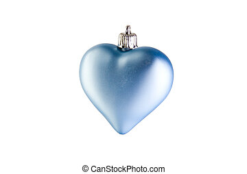Blue christmas heart on white ground
