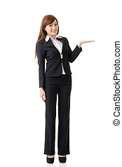 showing and introducing - Attractive business woman showing...