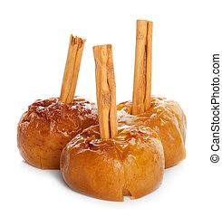 Baked apples on white background
