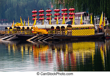 Houhai Lake Tourboats Beijing, China