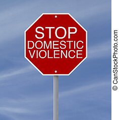 Stop Domestic Violence - Conceptual stop sign on domestic...