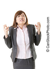 Angry business woman of Asian, closeup portrait isolated on...