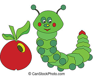 caterpillar  - green caterpillar with red apple