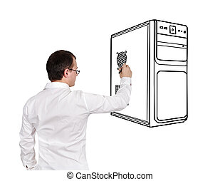 drawing computer system unit - businessman drawing computer...