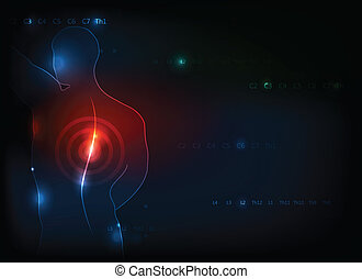 Human backache concept Deep blue background with red light...