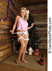New Years in a rural house - A beautiful girl celebrates New...