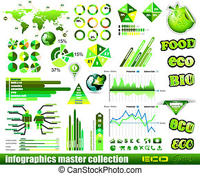 Premium Eco Green infographics master collection: graphs,...