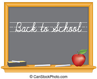 Blackboard, Back to School, Apple - Retro oak wood frame...