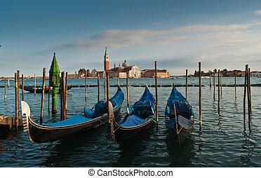 Venice - Gondolas and San Giorgio Maggiore church on Grand...
