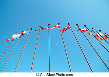 European flags - Row of european flags against blue sky...