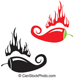 Red hot chili peppers on white background. Vector...