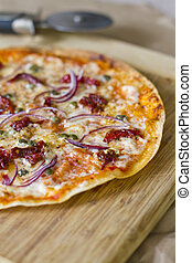 Mediterranian Tortilla Pizza - A flatbread tortilla pizza...