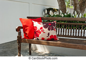 Garden bench in outdoor setting - Outdoor patio seating are...