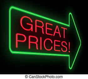 Great prices concept - Illustration depicting a neon sign...