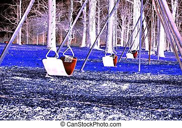 Creepy Swing Set - An infrared shot of an empty swing set....