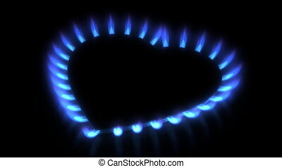 stove. Gas flame motion