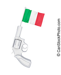 Revolver with a flag of ItalyIsolated on white background