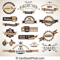 Premium collection of Bakery themed vintage style labels. A...