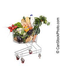 Groceries in shopping cart - Healthy food - groceries in...