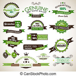 Organic and Genuine product premium labels Many different...