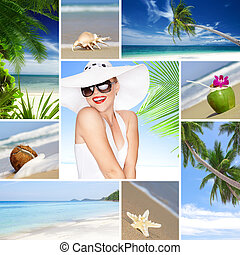 beach collage - Tropic theme collage composed of different...
