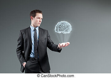 Man holding brain Hologram Futuristic technology concept
