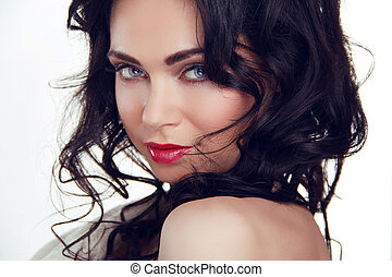 Glamour portrait of beautiful sexy woman model with makeup...