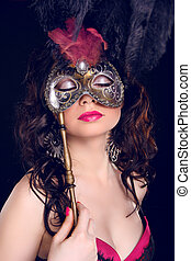 Masquerade Sexy woman with Carnival mask on face
