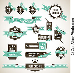 Collection of retro bi-colours vintage labels - Premium...