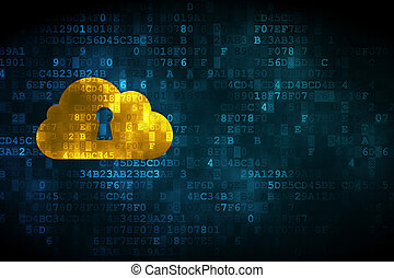 Cloud technology concept: pixelated Cloud Whis Keyhole icon...
