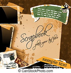 Vintage scrapbook composition with old style distressed...